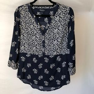 Lucky Brand Navy Flowered Blouse